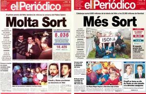 Portadas de EL PERIÓDICO que recogen los premios caídos en Sort en 1994 y 1996 con el sorteo de El Niño.