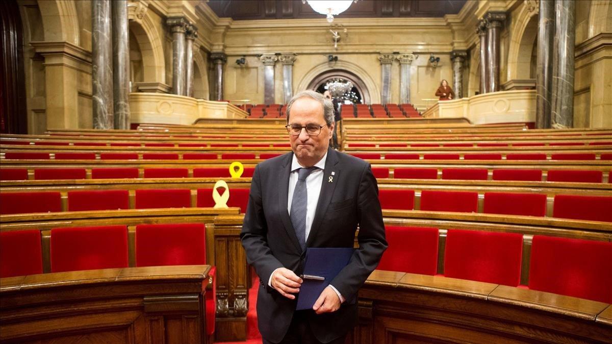 Torra abandona el Parlament el pasado día 4, tras la celebración de un pleno extraordinario.