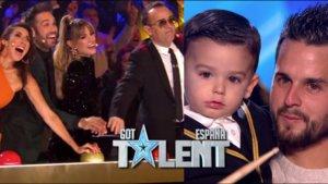 El jurado de 'Got Talent 5' y Hugo Molina con su padre.