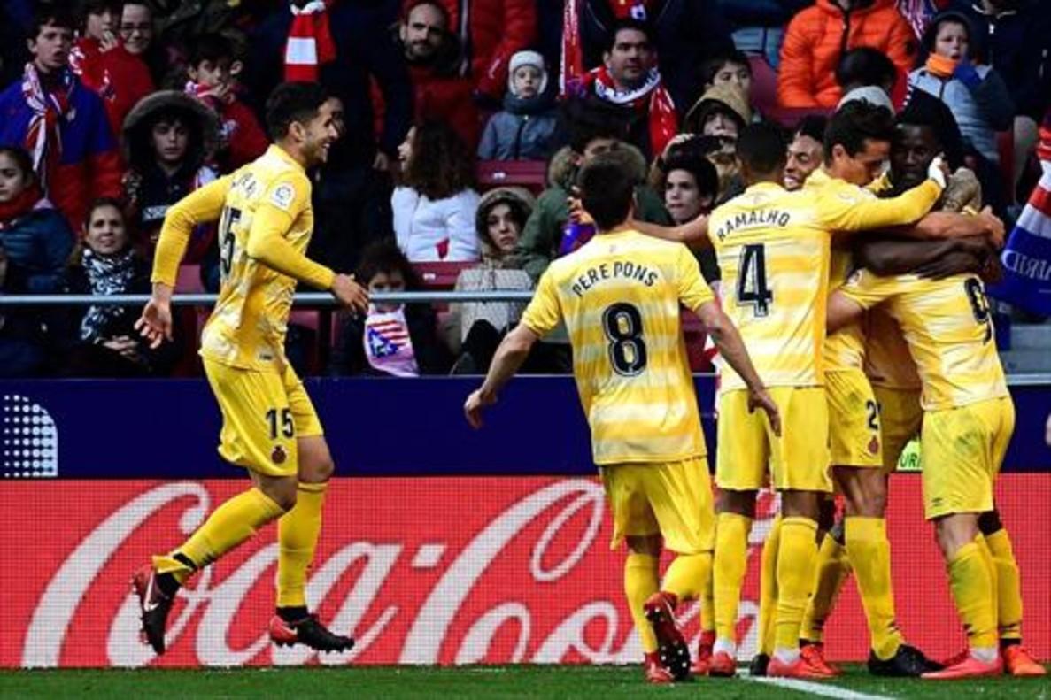 Los jugadores del Girona celebrando un gol.