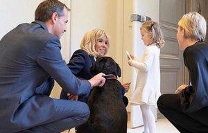 Los mellizos de Charlène y Alberto de Mónaco visitan a Brigitte Macron.