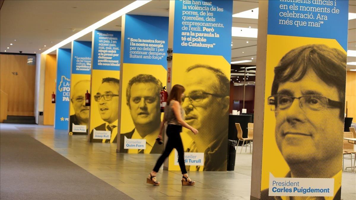 Los pasillos del Palau de Congressos de Catalunya durante el congreso del PDECat