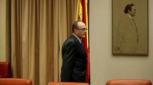 Luis María Linde en el Congreso de los Diputados, en una imagen de archivo.