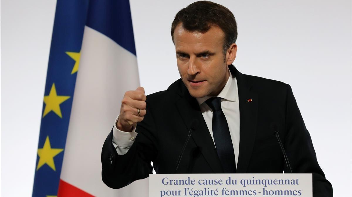 Macron, durante un discurso en el palacio del Elíseo, en París, el 25 de noviembre.