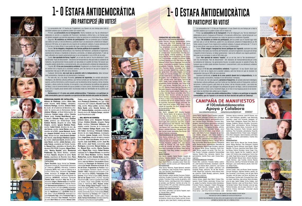 """Casi un millar de personalidades de izquierdas tachan el referéndum del 1-O de """"estafa antidemocrática"""""""