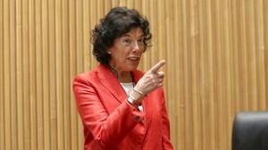 La ministra de Educación, Isabel Celaá, este martes en el Congreso de los Diputados.