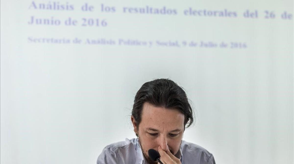 Pablo Iglesias durante el análisis de resultados del 26-J, en el Consejo Ciudadano Estatal.