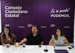 Pablo Iglesias preside el Consejo Ciudadano de Podemos, este sábado en Madrid, junto a Irene Montero e Ione Belarra.