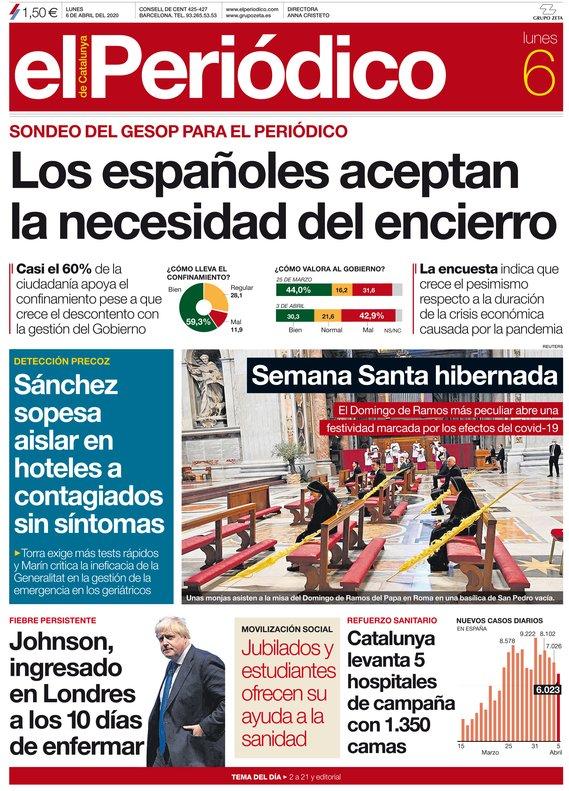 La portada de EL PERIÓDICO del 6 de abril del 2020.