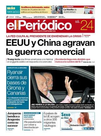 La portada de EL PERIÓDICO del 24 de agosto del 2019