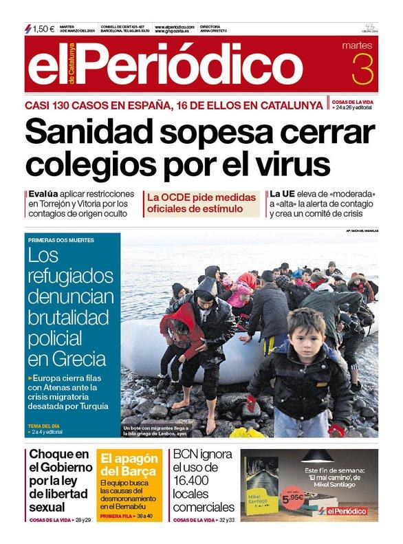 La portada de EL PERIÓDICO del 3 de marzo del 2020.