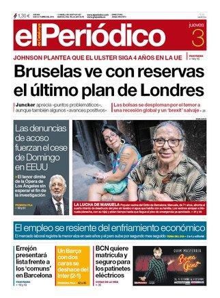 La portada de EL PERIÓDICO del 3 de octubre del 2019.
