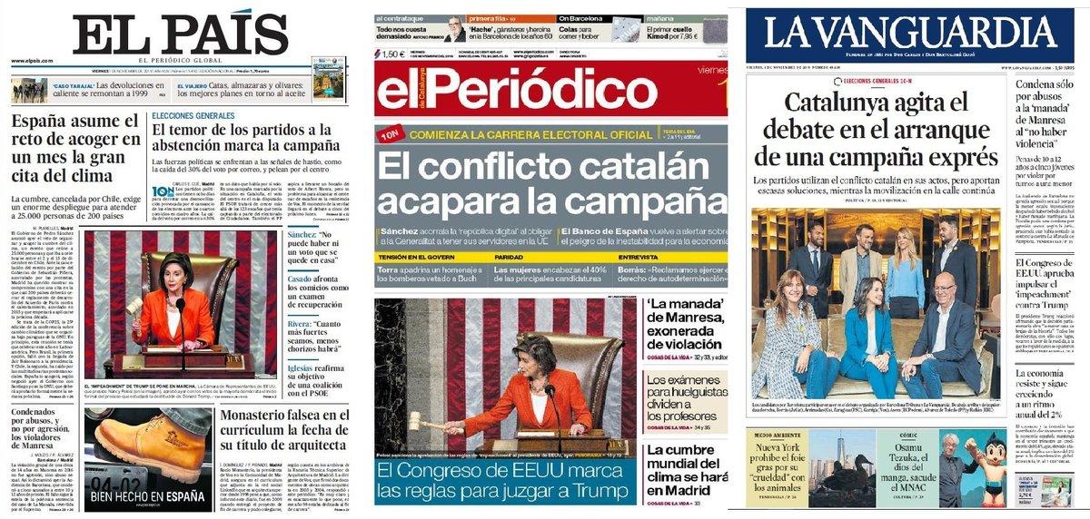 Prensa de hoy: Las portadas de los periódicos del viernes 1 de noviembre del 2019