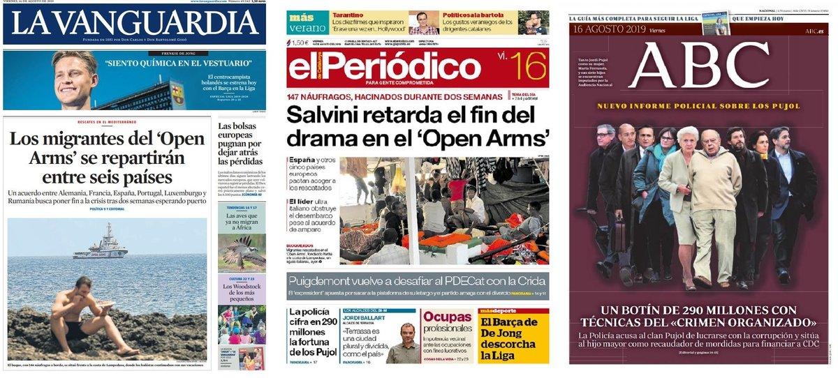 Prensa de hoy: Las portadas de los periódicos del viernes 16 de agosto del 2019
