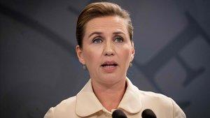 La primera ministra danesa, Mette Frederiksen, durante la rueda de prensa que ha ofrecido este viernes.