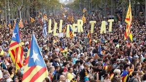 Manifestación en contra de la sentencia del 'procés' en Barcelona.