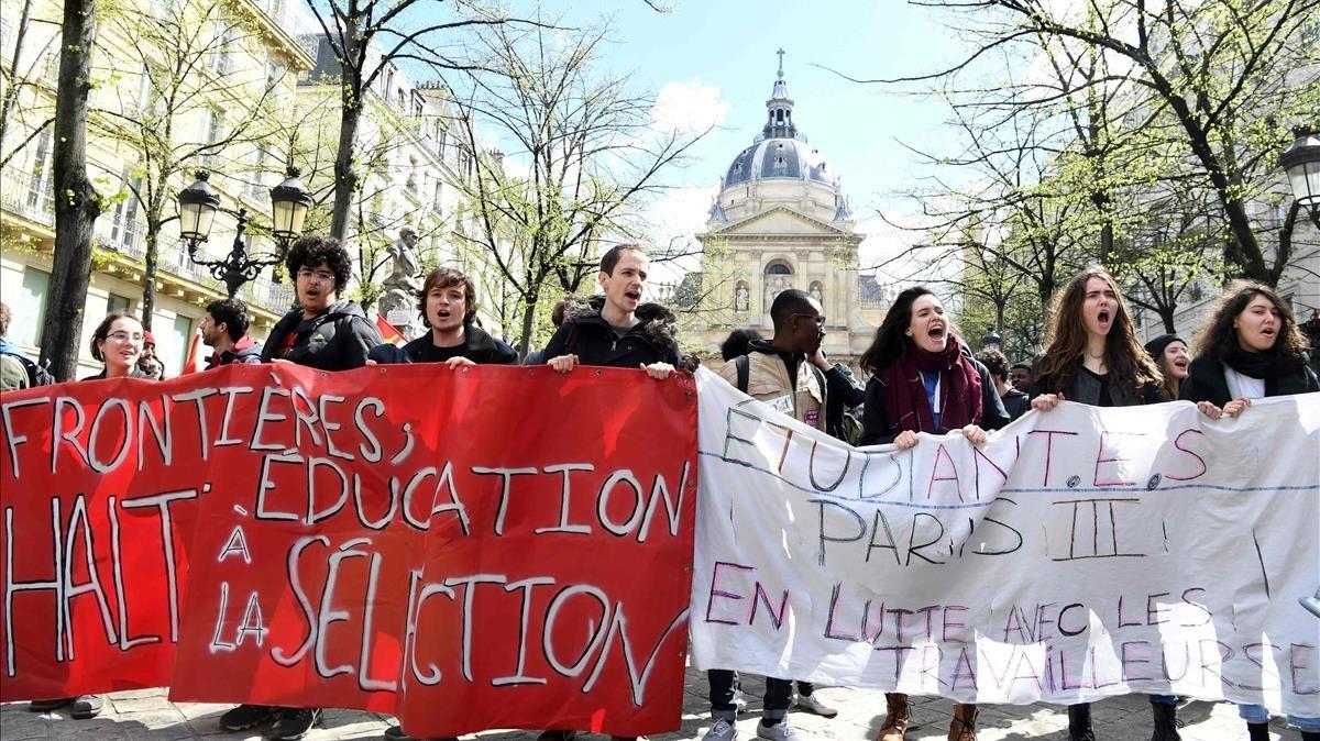 Manifestación de estudiantes de la Sorbona el pasado mes de abril.