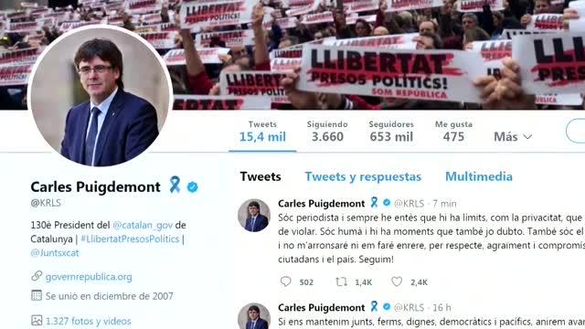 Carles Puigdemont, se ha referido desde Twitter a sus mensajes a Antoni Comín difundidos por Telecinco.