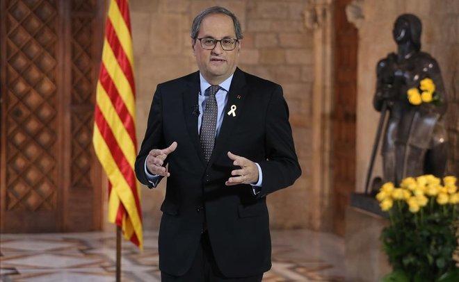 Quim Torra, durante la declaración institucional con motivo de Sant Jordi.
