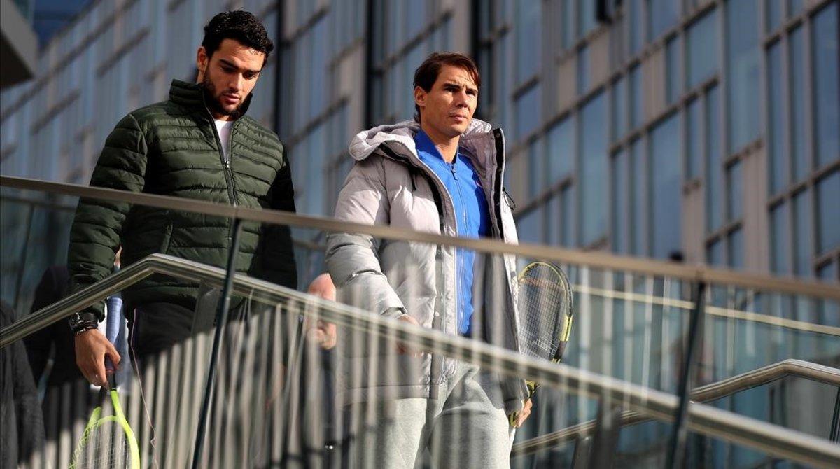Rafael Nadal y Matteo Berrettini llegan al O2 Arena.