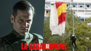 Rodrigo de la Serna (Palermo en 'La casa de papel') y el paracaidista accidentado en el desfile del 12 de octubre.
