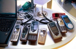 Teléfonos móviles Nokia antiguos.