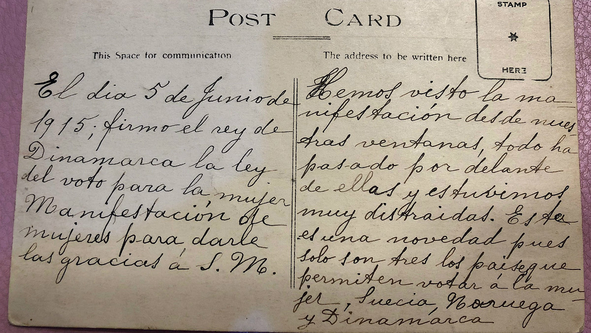 Texto remitido por Marciala a su hermana desde Dinamarca, en 1915.