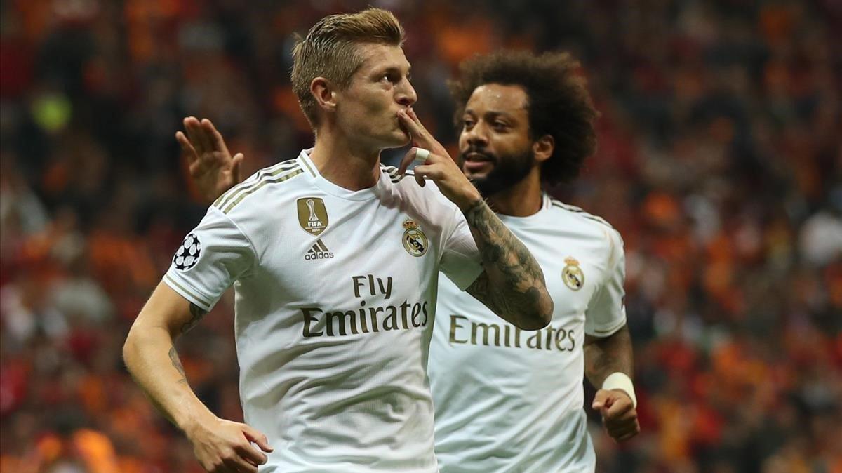 Toni Kroos celebra el gol ante el Galatasaray.