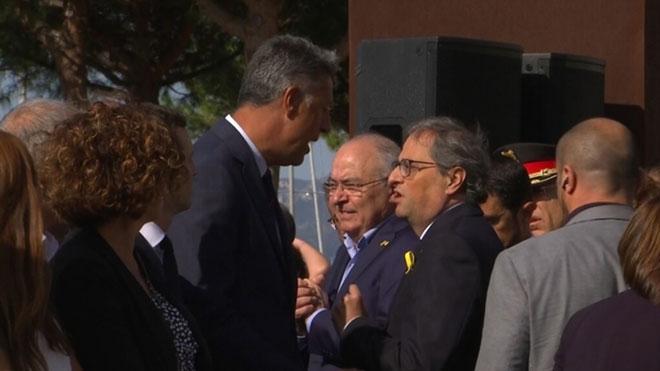 Torra y Albiol discuten en el homenajea las víctimas del 17A en Cambrils.