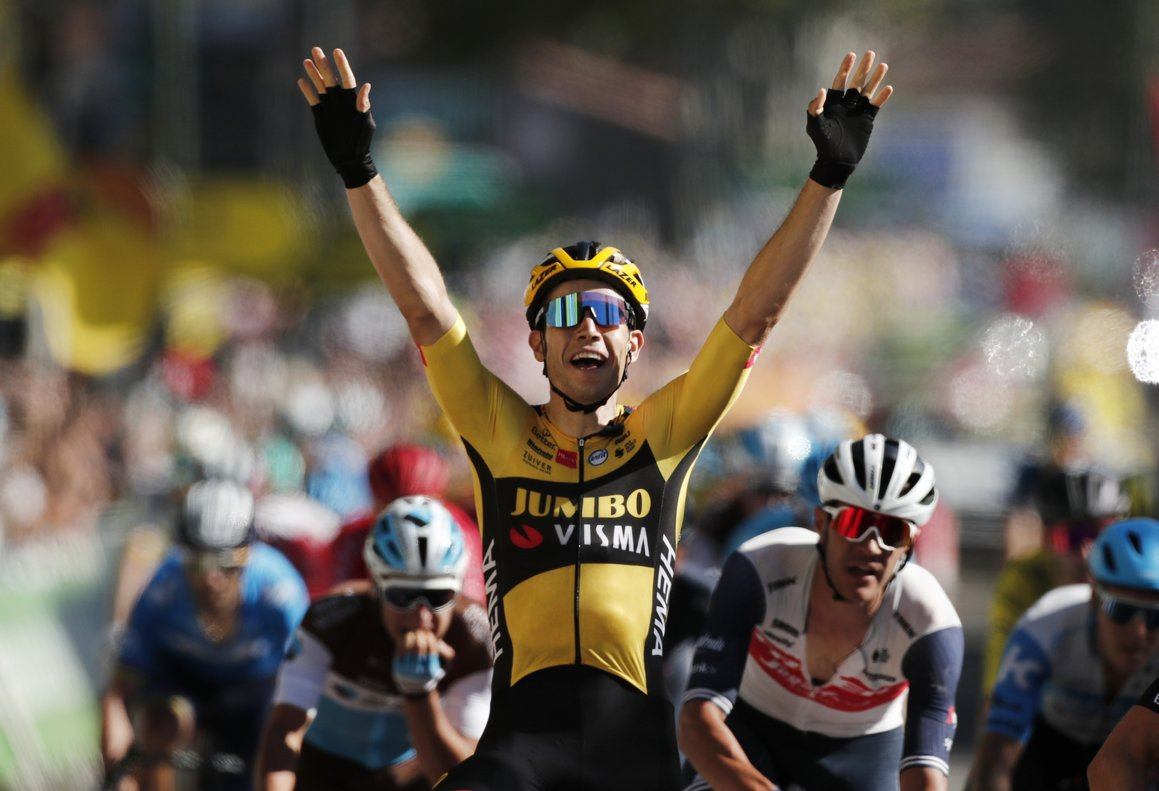 Cycling - Tour de France - Stage 7 - Millau to Lavaur - France - September 4, 2020. Team Jumbo-Visma rider Wout Van Aert of Belgium wins the stage. REUTERS/Benoit Tessier/Pool