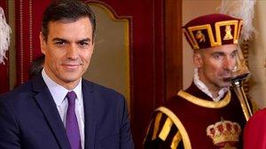 Pedro Sánchez, este viernes, durante el aniversario de la Constitución, en el Congreso de los Diputados.