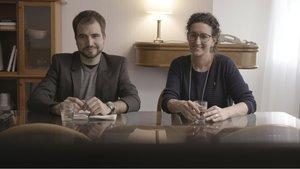 Ricard Ustrells con Marta Rovira, en el programa 'Quatre gats' que este domingo emite TV-3.