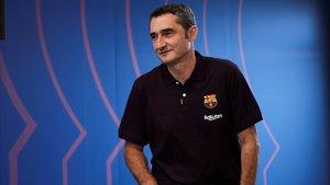 Valverde, antes de la rueda de prensa de este viernes.