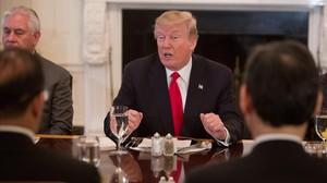 El presidente estadounidense,Donald Trump,interviene durante un almuerzo con el Consejo de Seguridad de las Naciones Unidasen la Casa Blanca de Washington.