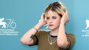 Kristen Stewart, intérprete de Jean Seberg en el bipic 'Seberg', en Venecia, este viernes.