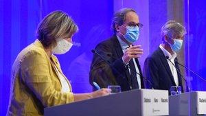 El president de la Generalitat Quim Torra y los responsables de Salut Alba Vergés y Josep Maria Argimon comparecen para evaluar la situación epidemiológica de Catalunya