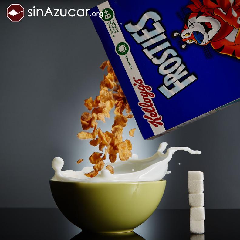 50gr de Frosties de Kellogg¿s contienen 18 gr de azúcar lo que equivale a 4,6 terrones.