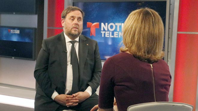 Oriol Junqueras entrevistat a Noticias Telemundo de Miami