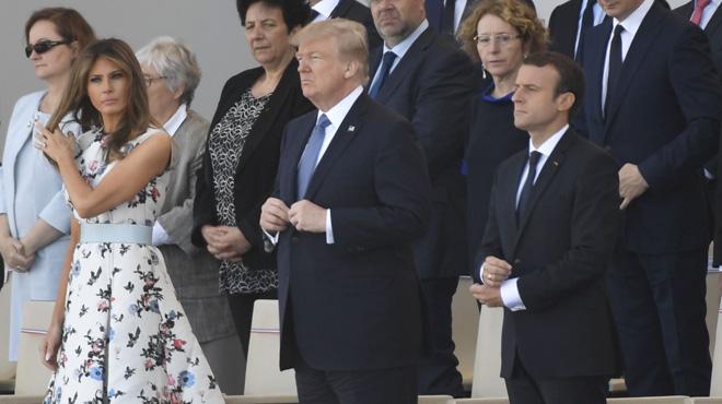 Trump asiste en París al desfile militar de la Fiesta Nacional francesa