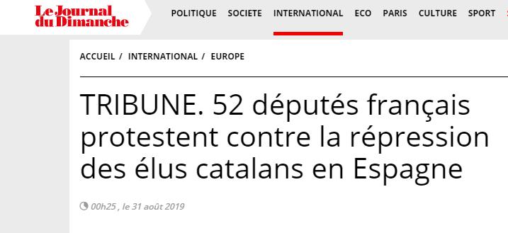 52 diputats francesos denuncien la situació dels polítics catalans presos