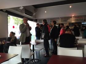 Ada Colau, Joan Ribó i Pedro Santisteve, aquest dimecres a la cafeteria del CCCB.