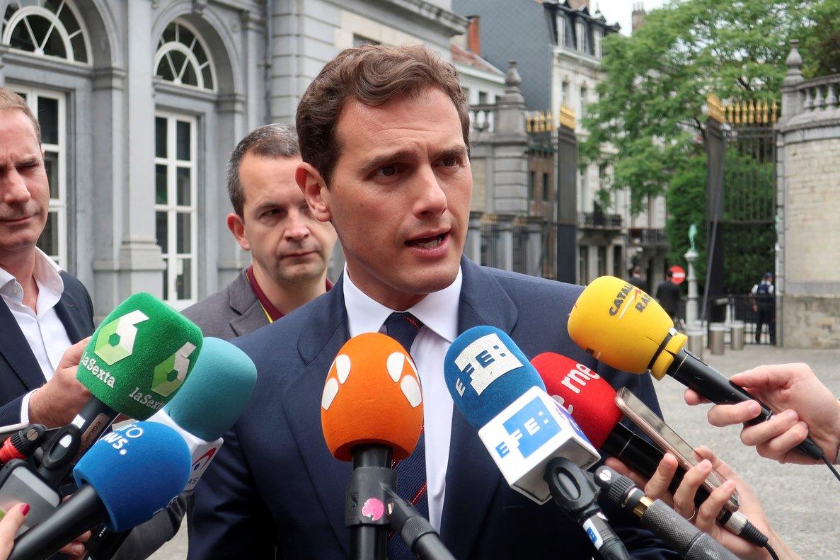 Albert Rivera, este jueves en Bruselas, antes de la reunión del Grupo Liberal Europeo.