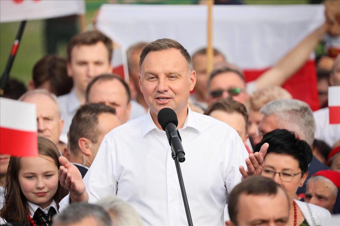 Andrzej Duda, durante un mitin de campaña.