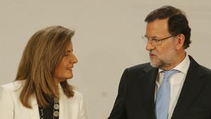 Báñez y Rajoy, en el 2014.