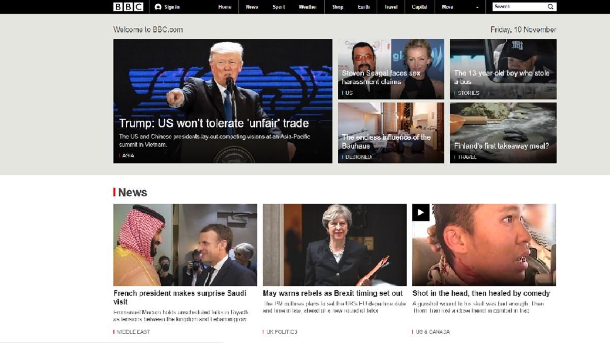 Página principal de la web de la BBC