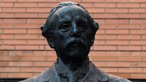 Busto de Narcís Oller, que ha sido robado del barrio de Gràcia, en Barcelona.