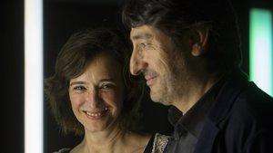 Carmelo Gómez y Ana Torrent, en la presentación de Todas las noches de un día en el Goya