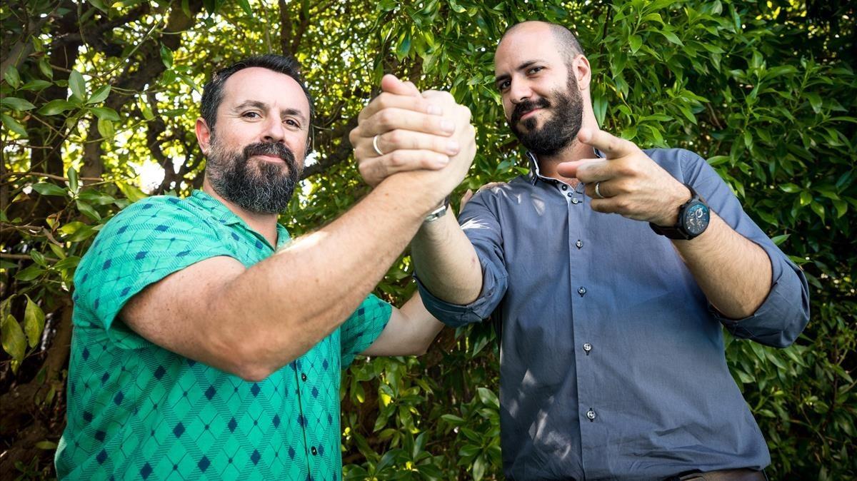 Caye Casas y Albert Pintó, tras la presentación de Matar a Dios en Sitges