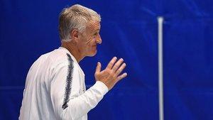 Deschamps, antes de la rueda de prensa que ofreció en Andorra.