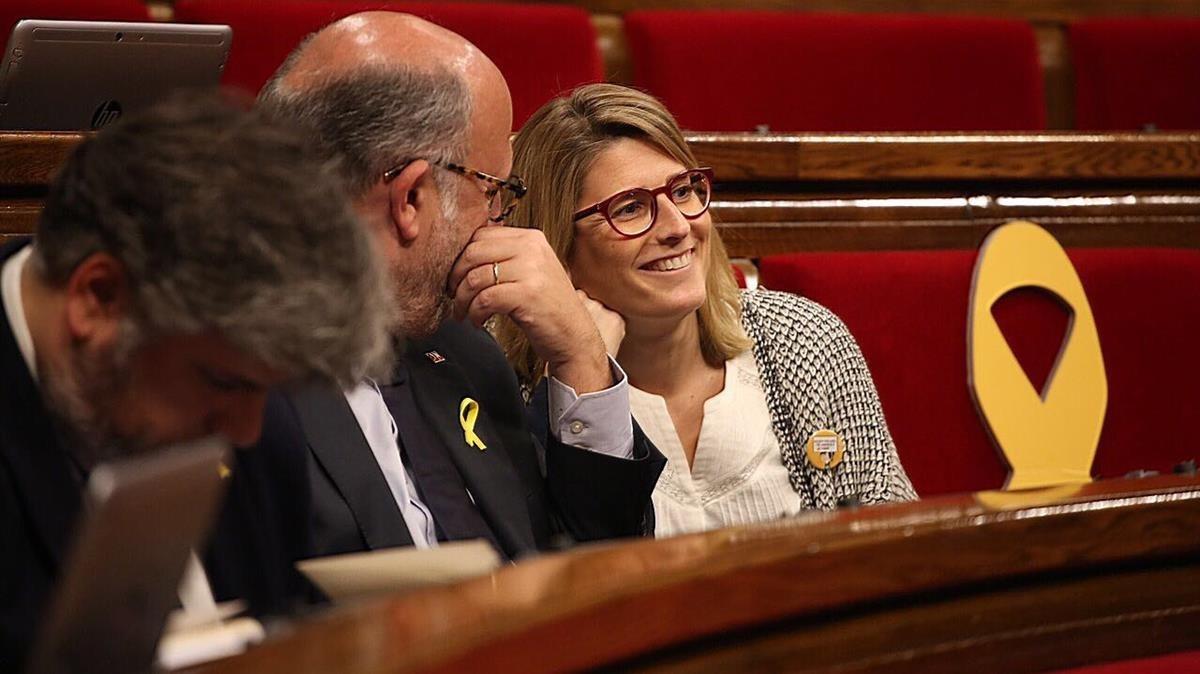 Elsa Artadi durante la sesión de hoy en el Parlament.